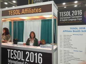Ana María Rocca at TESOL Affiliates' booth at TESOL 2016