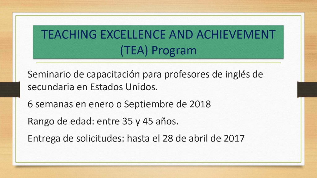 TEACHING EXCELLENCE AND ACHIEVEMENT (TEA) Program